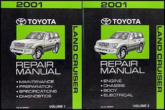 2001 toyota land cruiser repair shop manual original set