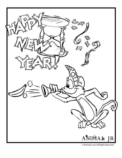 coloring page year of the monkey monkey new years coloring page animal jr