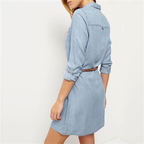 light blue dress shirt womens lyst river island light blue denim shirt dress in blue