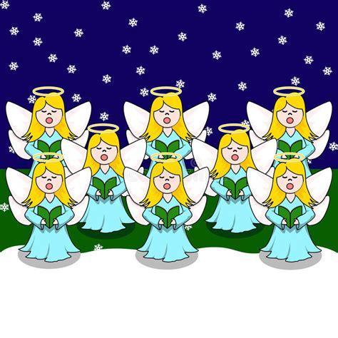 clipart angeli coro degli angeli carolling illustrazione vettoriale