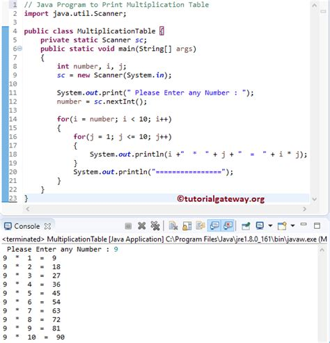 program to print multiplication table from 1 to 10 in java java program to print multiplication table