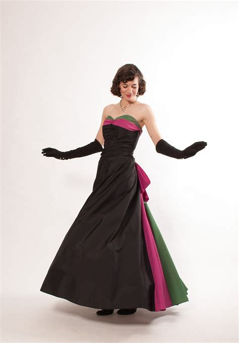 1940s formal dresses prom dresses cocktail dresses history 1940s evening gown 40s formal dress black with magenta