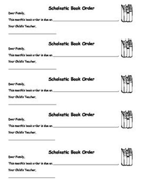 Parent Letter Scholastic Book Club Scholastic Book Order Letters Back To School