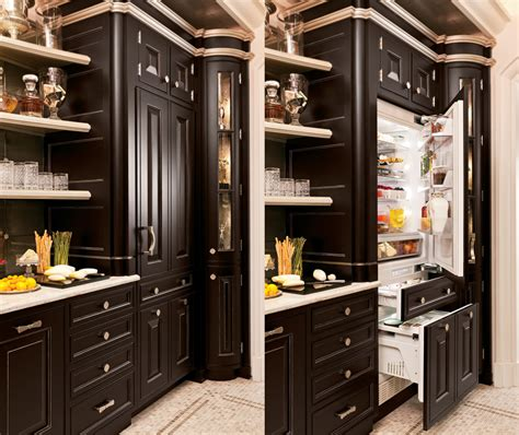 Distressed Kitchen Cabinet built in refrigerators that blend perfectly into your