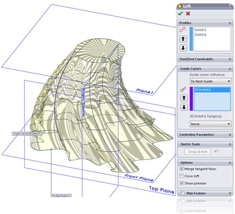 sketch pattern along curve solidworks boss base loft feature learnsolidworks com