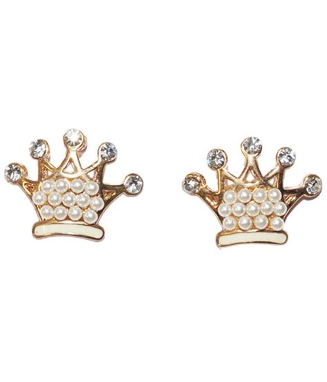 golden peacock cz crown shaped stud earrings buy golden