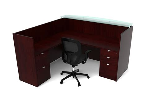 Executive Reception Desk 4pc L Shape Glass Top Modern Reception Executive Office Desk Ch Jad R1 Ebay