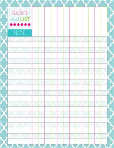 free class list templates for teachers student checklist by mrs j 211 teachers pay teachers
