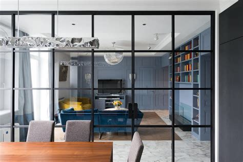 Living Room With Glass Wall by Family Apartment In American Style Brutality Classics