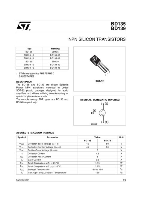 bd135 bd139 transistor data sheet