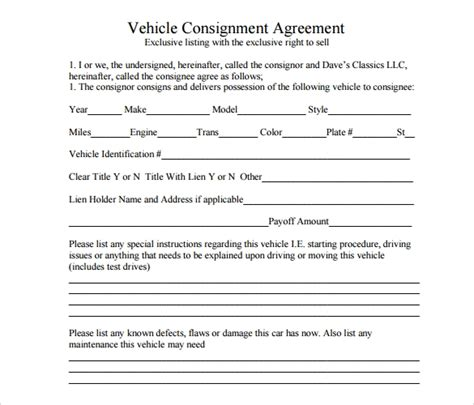 consignment agreement 11 documents in pdf word