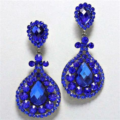 blue chandelier rhinestone clip on bridal drag