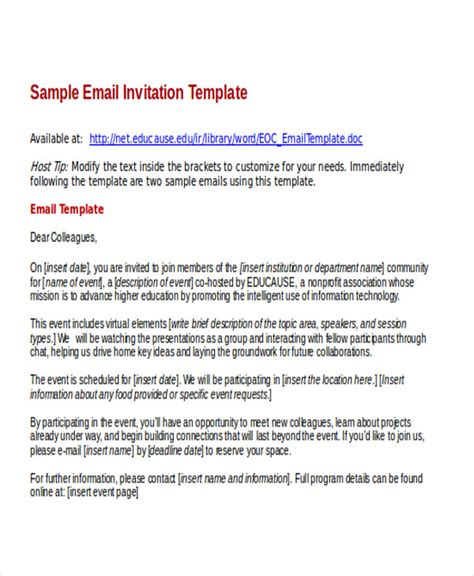 free email invitation templates for word 6 business e mail invitation template design templates
