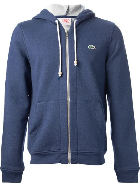 Hoodie Zipper Sweater Lacoste 1 lyst lacoste l ive zipped hoodie in blue for