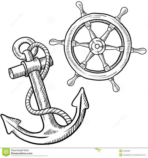 Helmdesign Vorlage doodle style ships anchor and wheel illustration in vector format sentry 03