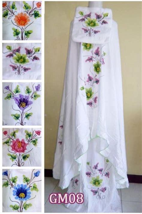 Mukena Bali Standar Tulip mukena lukis bunga timbul jual mukena santung murah