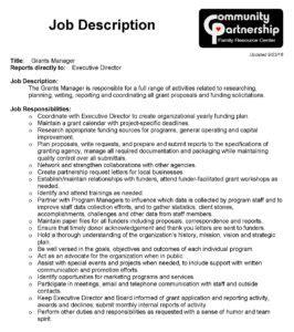 theme park job description grants manager job description page 1 community