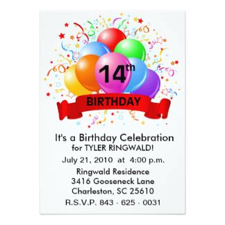 14th birthday card templates 14th birthday invitations announcements zazzle