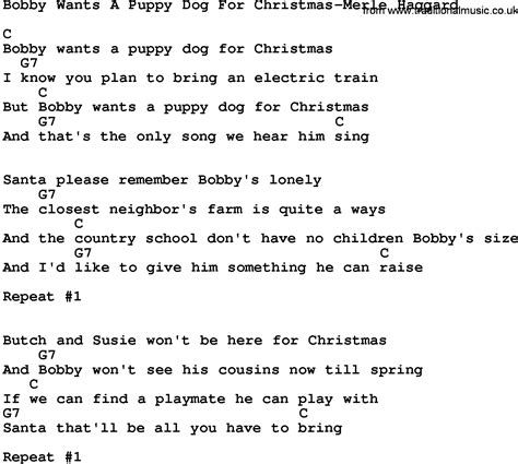 puppy songs country bobby wants a puppy for merle haggard lyrics and chords