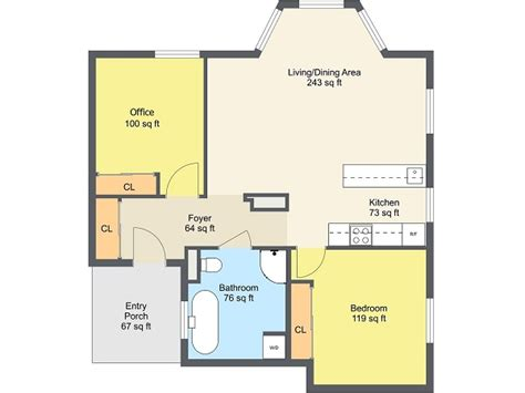 1 bedroom floor plan floor plans roomsketcher
