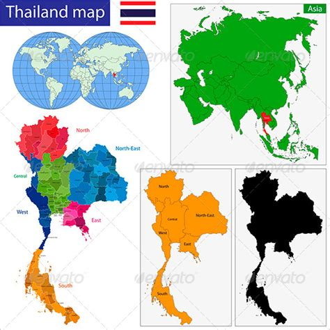 thailand map ai thailand map graphicriver