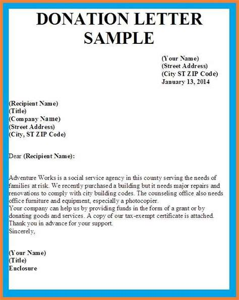 charity letter for donations fundraising letter template sop