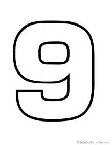 printable number 9 outline print bubble number 9