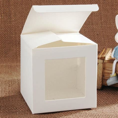 How To Make A Paper Window - 50pcs 8 8 8cm white wedding favors box gift box
