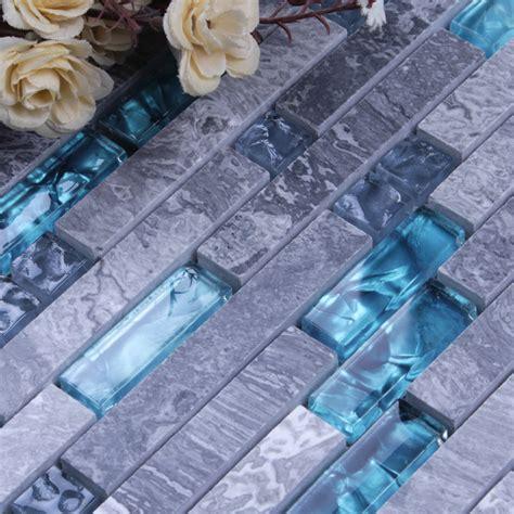 blue mosaic tile backsplash grey marble stone blue glass mosaic tiles backsplash
