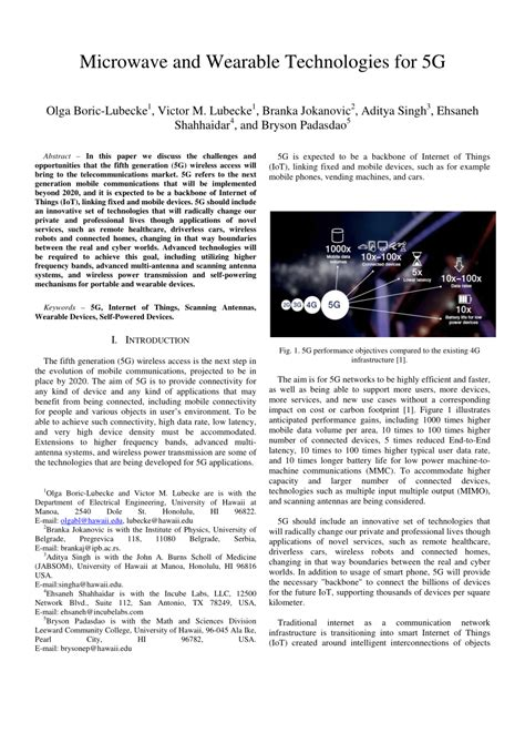 Research Paper On 5g Wireless Technology by Microwave And Wearable Technologies For 5g Pdf Available