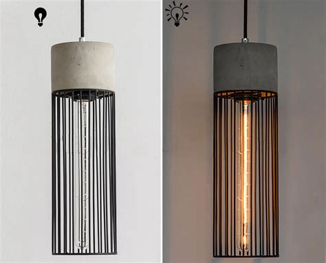long pendant light long pencil concrete cement steel cage pendant light