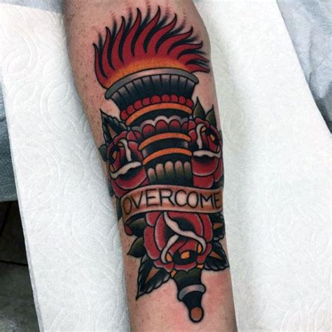 traditional torch tattoo 20 overcome designs for word ink ideas