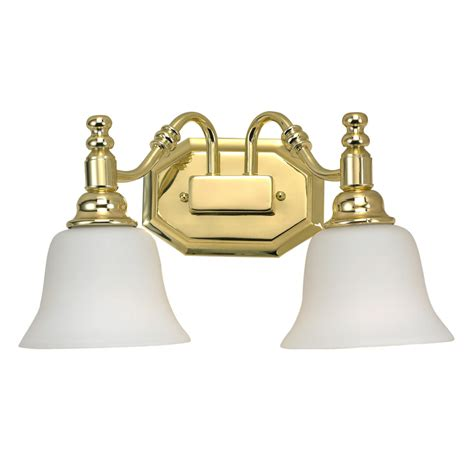 Polished Brass Bathroom Lights Shop Bel Air Lighting 2 Light Polished Brass Bathroom Vanity Light At Lowes