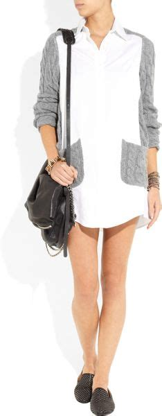 Gap Design Editions White Shirts By Doori Thakoon And Rodarte by Thakoon Stretchcotton And Cableknit Shirt Dress In Gray