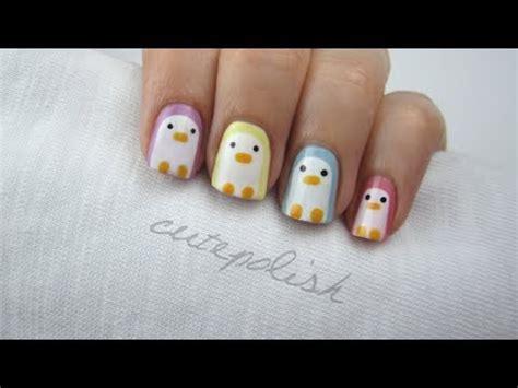 easy nail art by cutepolish nail art pastel penguins youtube