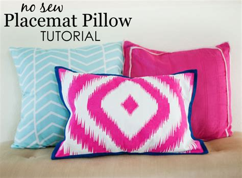Sew Throw Pillow by Diy No Sew Placemat Pillow Project Nursery