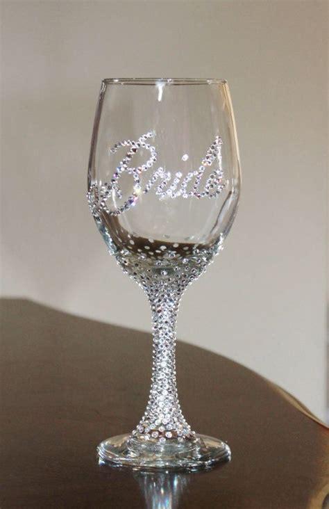 Party Glasses Swarovski Crystal | custom swarovski crystal bride wine glass bride glass