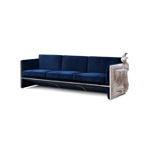 Royal Blue Velvet Sofa by Luxury Upholstered Plush Velvet Royal Blue Carved