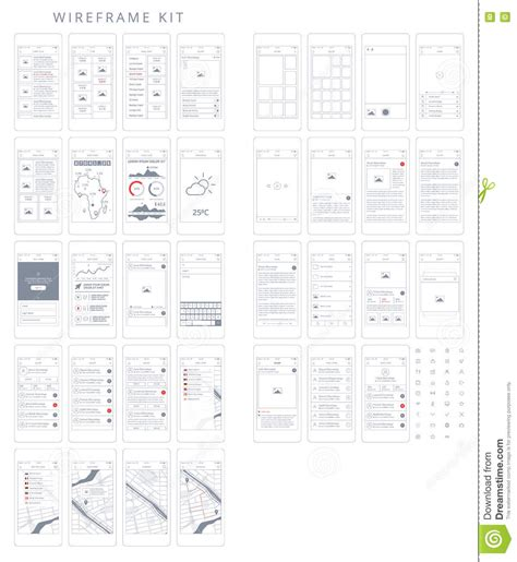 Vector Phone Gui Template Wireframe Ui Kit Stock Vector Image 75949452 Illustrator Wireframe Template