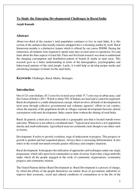 Research Papers On Marketing Pdf by To Study The Emerging Developmental Challenges In Rural India Rural