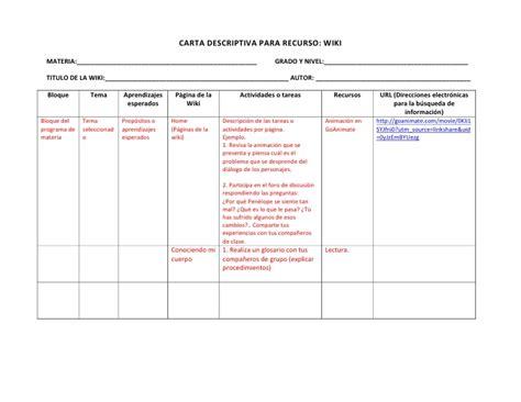 ejemplo de cartas descriptivas de educacion preescolar carta descriptiva wiki