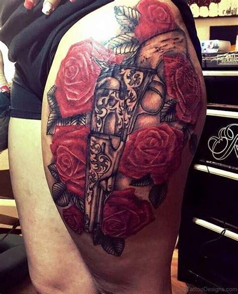 gun tattoo on thigh 72 delightful gun tattoos on thigh