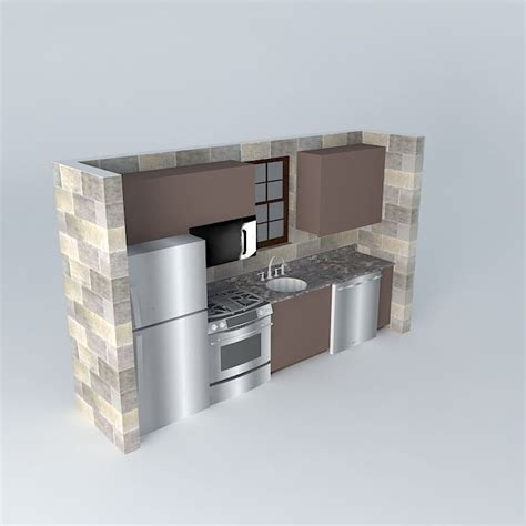 one wall small one wall kitchen free 3d model max obj 3ds fbx stl