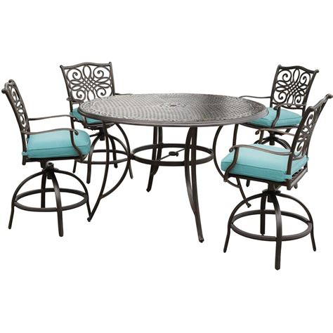 Hanover Traditions 5 Piece Aluminum Round Outdoor Bar Outdoor Bar Height Swivel Chairs