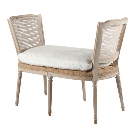 country casual benches ethan french casual country bleached white wash caned bench kathy kuo home