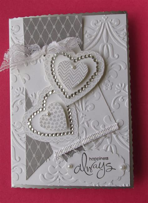 Handmade Engagement Card Ideas - wedding card hearts and embossing card ideas