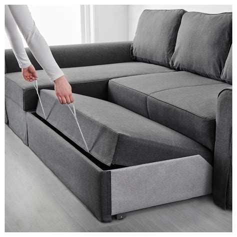 grey sofa bed ikea backabro sofa bed with chaise longue nordvalla dark grey