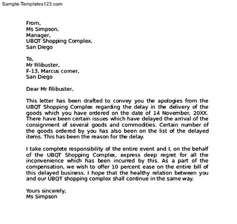 Letter For Work Delay Apology Letter For Delay Sle Templates