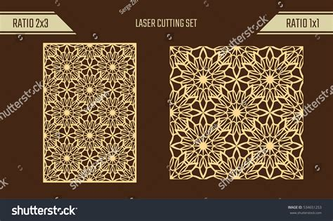 seamless pattern diy diy laser cutting set woodcut vector stock vector