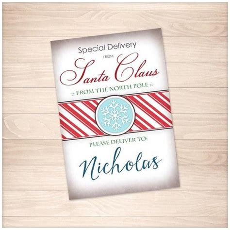 printable gift tags santa personalized special delivery from santa claus personalized gift tags